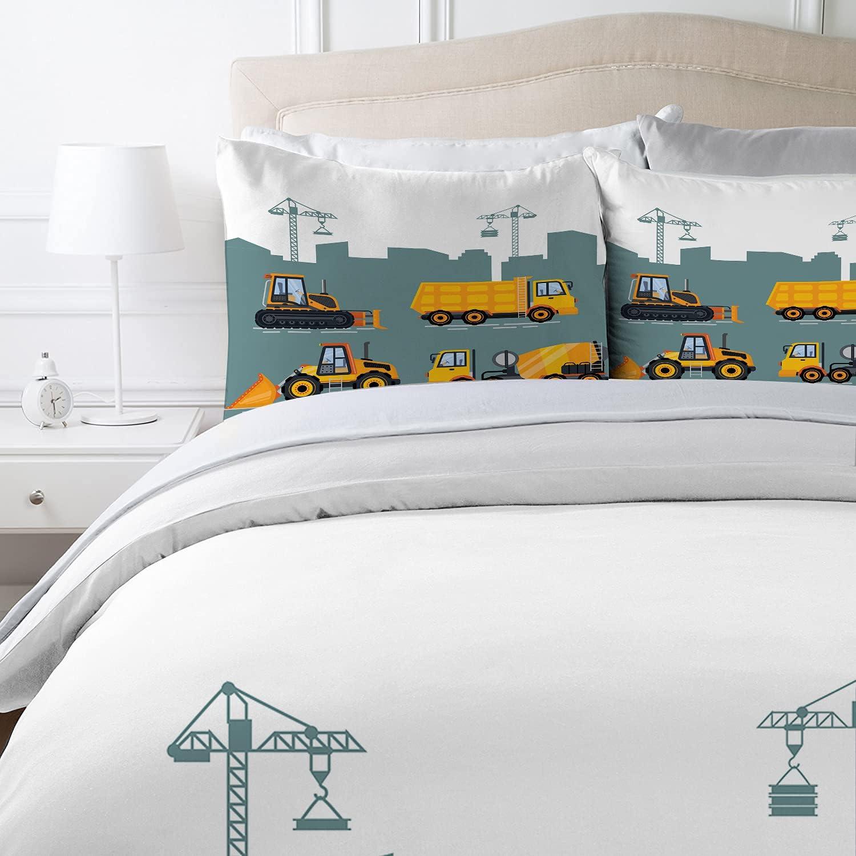 MUSOLEI Cartoon-Automuster Kinderbettw/äsche 135x200 Waggonkran Abschleppkran Orange und Gelb Bettbezug f/ür Kinder weich Rei/ßverschluss Polyester Kissenbezuge 50x75