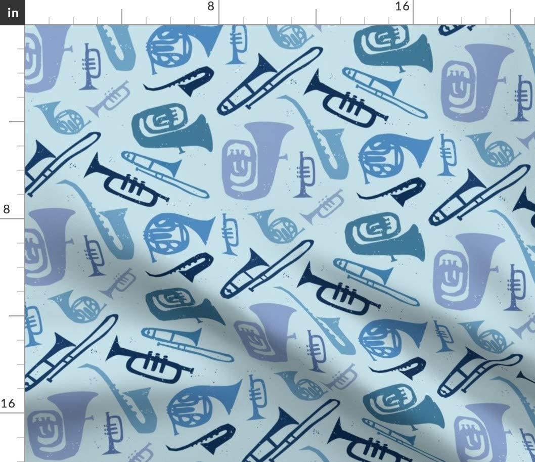 Spoonflower Fabric - Cool Challenge the lowest price Jazz Musical Tuba Music Fre Popularity Instrument