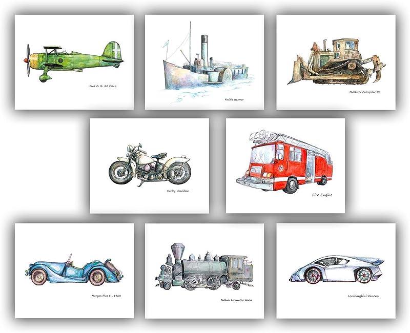 Transportation Boy Nursery Decor Set 8 Prints 8x10 In