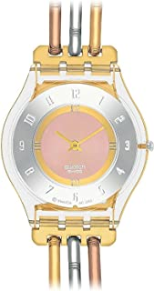 Swatch Womens Quartz Watch, Analog Display and Stainless Steel Strap SFK240A