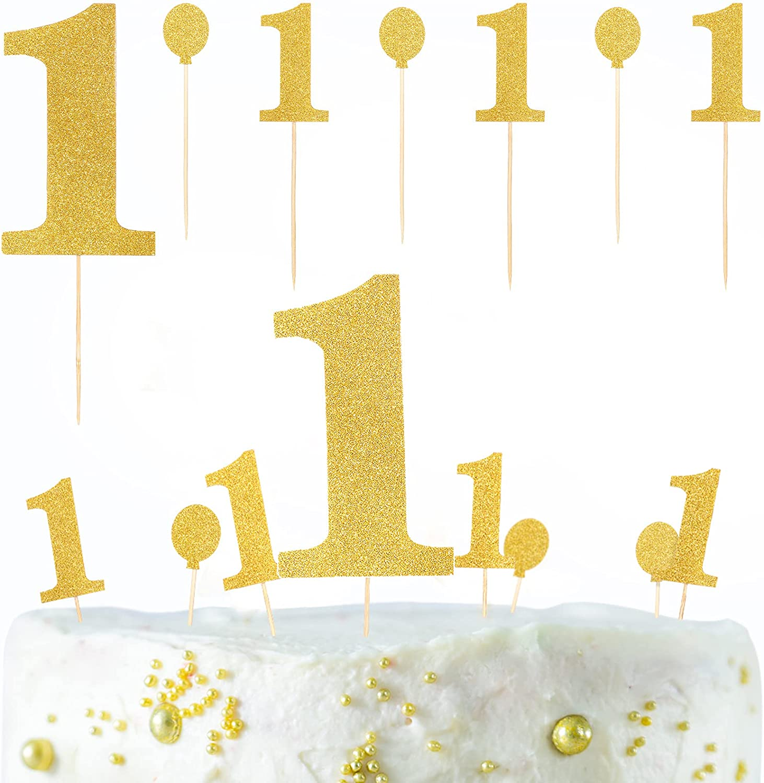 28 Pieces 1 Sale special price Cupcake Topper Glitter 1st half f Birthday