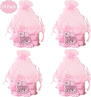 Baby Shower Candy Bags Candy Wedding Favors Bags,Mini Drawstring Organza Candy Basket for Baby Girls' Shower Birthday Wedding Party Gift Bags (Pink 24 Pack)