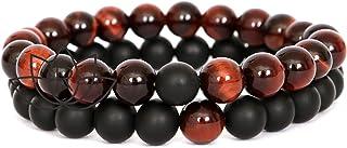 REVOO Bracelets Oeil de Tigre Rouge et Onyx Noir Mat 2pcs Couple Bijoux Perles 8mm Elastique Pierre pour Bien Etre Protect...