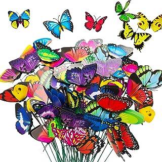 50 قطعة 11.5 بوصة أوتاد فراشة، حديقة وفناء ديكور فراشات وزخارف ، أوتاد فراشة متعددة الألوان للديكورات الخارجية ، لوازم الح...
