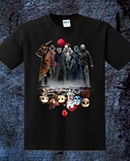 Horror Characters Friends IT Joker Pennywise Squad Reflection Chibi Horror Villains Halloween Movie Mashup Unisex Gifts Unisex T-Shirt, Tank Top, Sweatshirt for Mens Womens