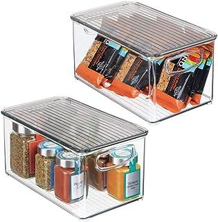 mDesign boîte alimentaire avec poignées (lot de 2) – grand rangement frigo en plastique pour aliments – caisse de rangemen...