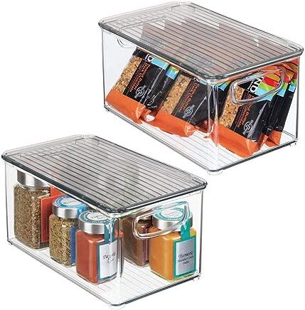 "mDesign Plastic Stackable Kitchen Pantry Cabinet, Refrigerator, Freezer Food Storage Bin with Handles, Lid - Organizer for Fruit, Yogurt, Snacks, Pasta - BPA Free, 10"" Long, 2 Pack - Clear/Smoke Gray"