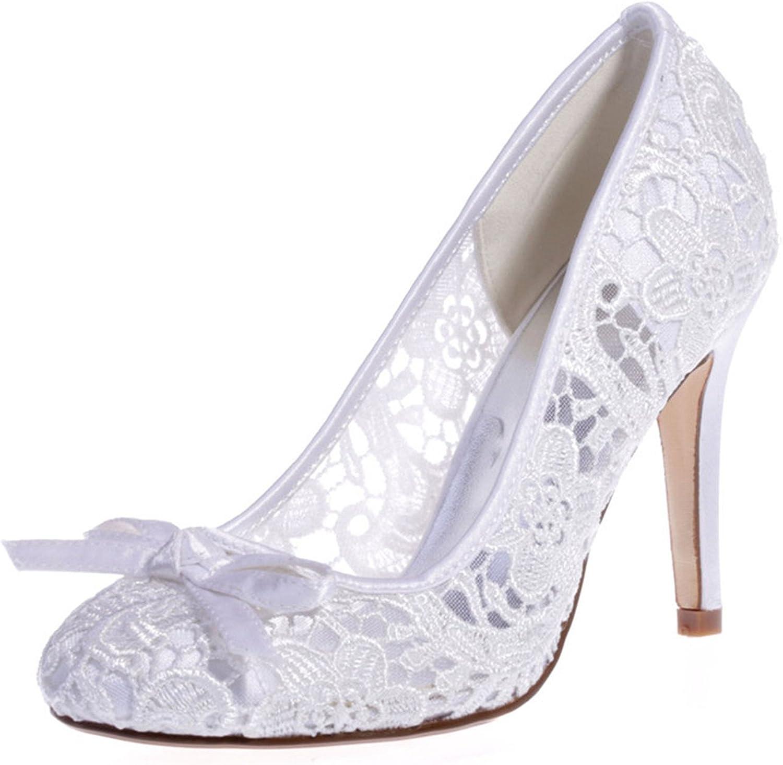 Fanciest Women's Lace Round Toe Pumps Heels Sandals Wedding Bridal shoes Ivory 5623-10