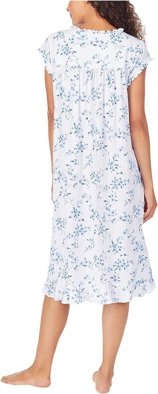 White Ground Blue Mono Floral