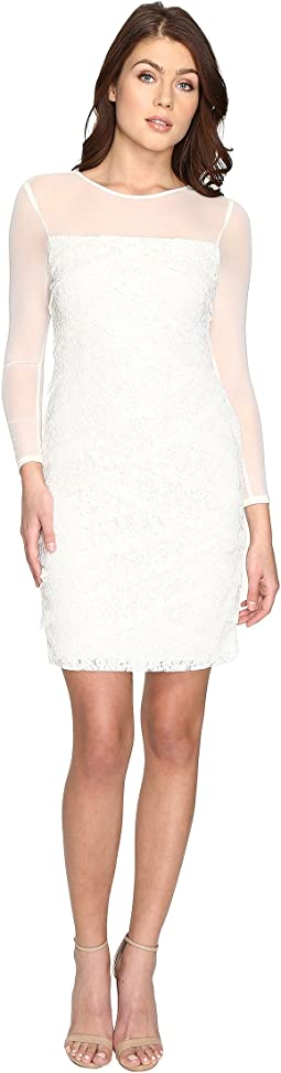 Shutter Tuck Lace Sheath Dress