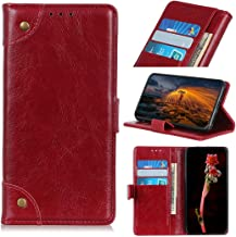 Mobile phone case Copper Buckle Nappa Texture Horizontal Flip Leather Case with Holder & Card Slots & Wallet for LG W30(Black) (Color : Wine Red)