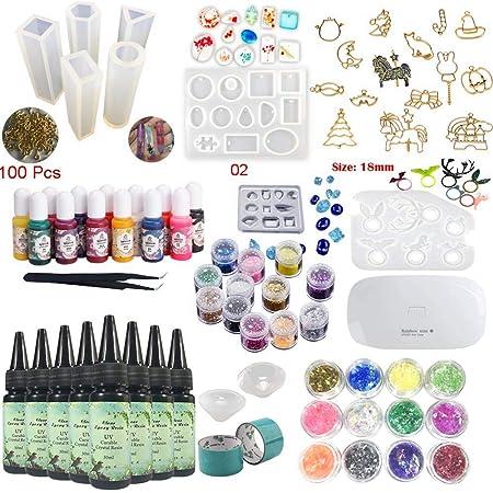 Resina Kit con Moldes Pigmento Lámpara, 8pcs Resina Epoxi UV cristalina 10 Moldes 17 Biseles 13 Tintes 24 Decoraciones Brillantes + Lámpara Pinzas ...