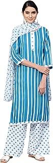 Ishin Women's Rayon Blue & White Printed A-Line Kurta Palazzo Dupatta Set