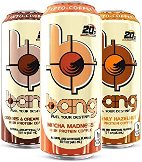 VPX Bang Keto Coffee Sampler - Mocha Madness, Heavenly Hazelnut, Cookies and Cream Craze, 15fl.oz. (Pack of 12)