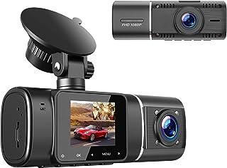 """TOGUARD Cámara Dual FHD 1080p Frontal y Cámara de Cabina Interna de Tablero Visión Nocturna IR, LCD 1.5 """"de Doble Lente de..."""