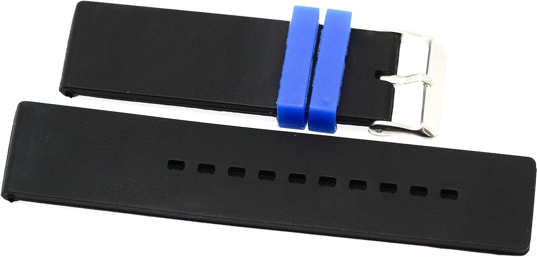 22MM Black 1 year warranty Blue Rubber Sport Diver Band Ranking TOP15 Waterproof F Strap Watch