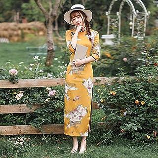 Cheongsam Spring And Autumn Dress Women'S Long Cheongsam Elegant Mandarin Collar Classic Chinese Dress