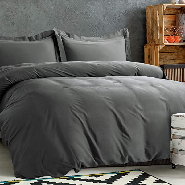 Bedsure 100 Bamboo Duvet Cover Set Full Queen Size 3 Pieces Set 1 Duvet Cover 2 Pillow Shams With Corner Ties Button Closure Silky And Soft Touch Comforter Cover