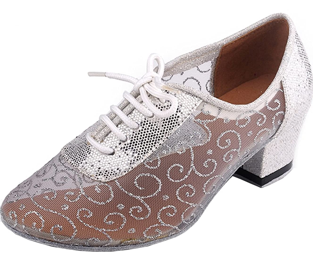 Abby AQ-900510 Womens Sexy Comfort Party Classical Low Heel Round-Toe Mesh Dance-Shoes