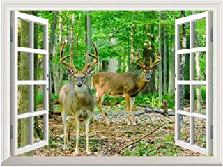 wall26 Removable Wall Sticker/Wall Mural - Whitetail Deer/Buck in Velvet Standing in The Woods   Creative Window View Home Decor/Wall Decor - 36