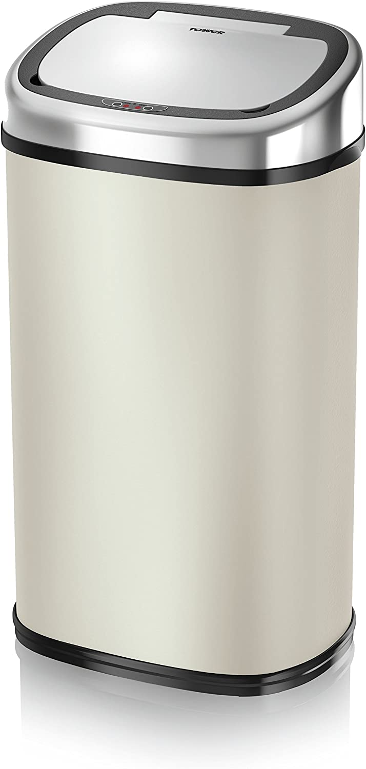Tower Square Sensor Bin with Infrared Technology, 58 Litre, Almond