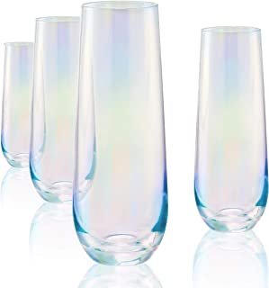 Circleware Radiance Stemless Champagne Flute Glasses Set of 4, Elegant All-Purpose Wine Drinking Glassware Beverage Cups for Water, Juice, Beer, Liquor, Whiskey & Bar Decor, 10.5 oz, White Pearl