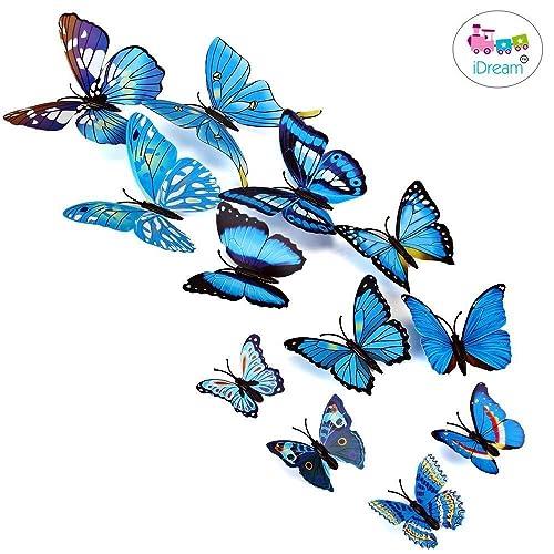 12pcs 3D PVC Magnet Butterflies DIY Wall Sticker Home Decoration (Blue)
