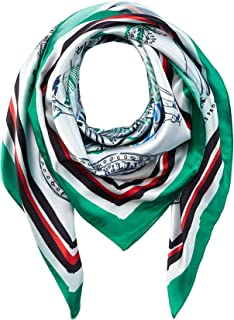 Tommy Hilfiger Women's Florida Print Satin Scarf, Green Mix, OS