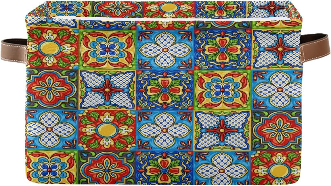 ECHOLI Tribal Super Special SALE held Mexican Max 74% OFF Talavera Ceramictile Floral Storage Bin wi