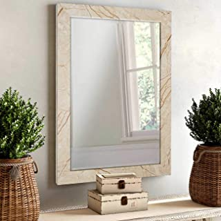Art Street Marble Finish Wall Decorative Mirror for Home and Bathroom - 12X18 Inchs, Color -Beige