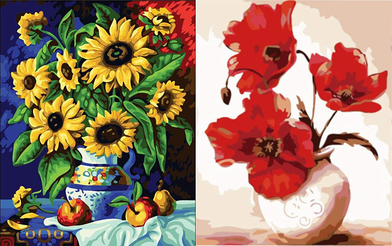 Crafty Fox Paint by Numbers for Adults: Flowers for Beginners 16 x 20 Inches (Set of 2)
