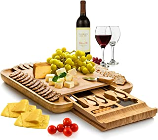 Bambüsi Premium Bamboo Cheese Board - Charcuterie Serving Board Platter and Knife Set with Hidden Slid-Out Drawer - Perfec...