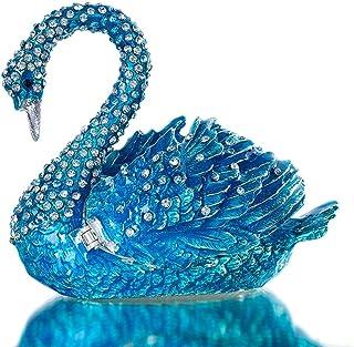 ZLBYB Elegant Blue Swan Trinket Keepsake Box Ornament Crystals Hinged Figurine Collectible Bejeweled Ring Holder Wedding F...