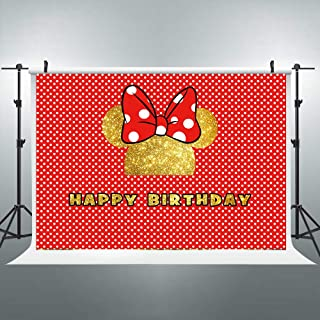 Riyidecor Happy Birthday Backdrop Mouse Head Kids Girls Photography Background Glitter Golden and Red 7x5 Feet Decoration Celebration Props Party Photo Shoot Vinyl Cloth
