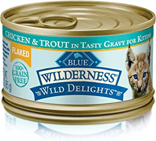 Blue Wilderness Wild Delights High Protein Grain Free Wet Cat Food Kitten Chicken And Trout Flaked Entrée