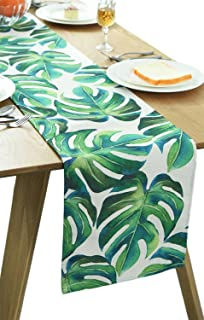 BOXAN Classic Durable White Linen Burlap Table Runner with Green Tropical Monstera Palm Leaves for Spring Summer Wedding Party Birthday Party Home Decor, Hawaii Luau Party Decor, 12x72 inch