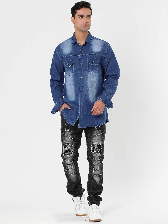 Lars Amadeus Men's Casual Dress Jean Shirts Button Down Long Sleeve Denim Work Shirt
