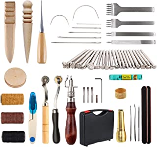 YUEWO 59 Pieces Leather Working Tools DIY Leather Craft Sewing Tools and Supplies with Box for Leather Working Cutting Sti...