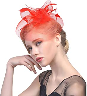 Mesh Net Fascinator Feather Sinamay Wedding Hats Tea Party Cocktail Party Headwear with Hair Clip