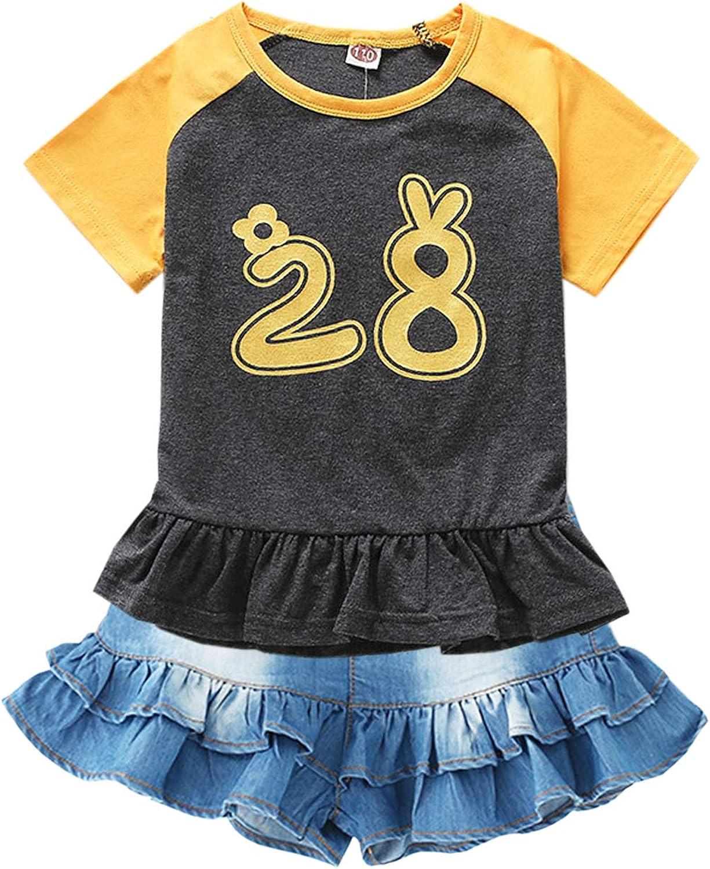 Chumhey BigLittle Girls 2Pc Big Bib Jeans Summer Shortalls Set