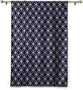 """HouseLookHome Roman Curtain Indigo Kitchen Curtains and Valances Trellis Inspired Circles for Bathroom Rod Pocket Panel, 39"""" W x 63"""" L"""