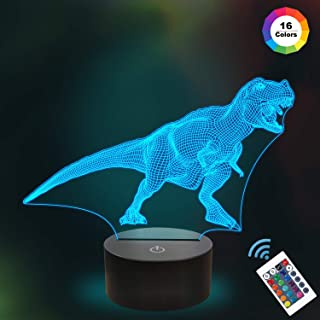 Kids 3D T Rex Night Light Optical Illusion Lamp Remote with 16 Colors Changing Birthday Xmas Valentine's Day Gift Idea for Sport Fan Boys Girls