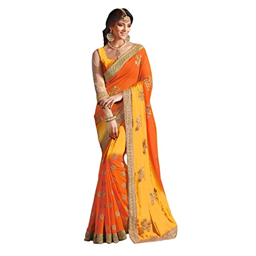 ced77b759538b Designer Indian Ethnic Party wear Women s Saree with Blouse in Georgette  Designer Saree-1538