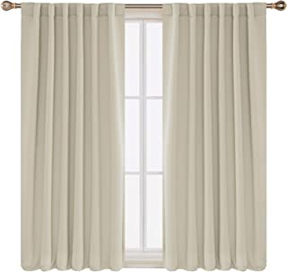 Deconovo Solid Insulated Thermal Window Blackout Shades Rod Pocket and Back Tab Curtains Window Coverings Curtains for Living Room 52x63 Inch Beige 2 Panels