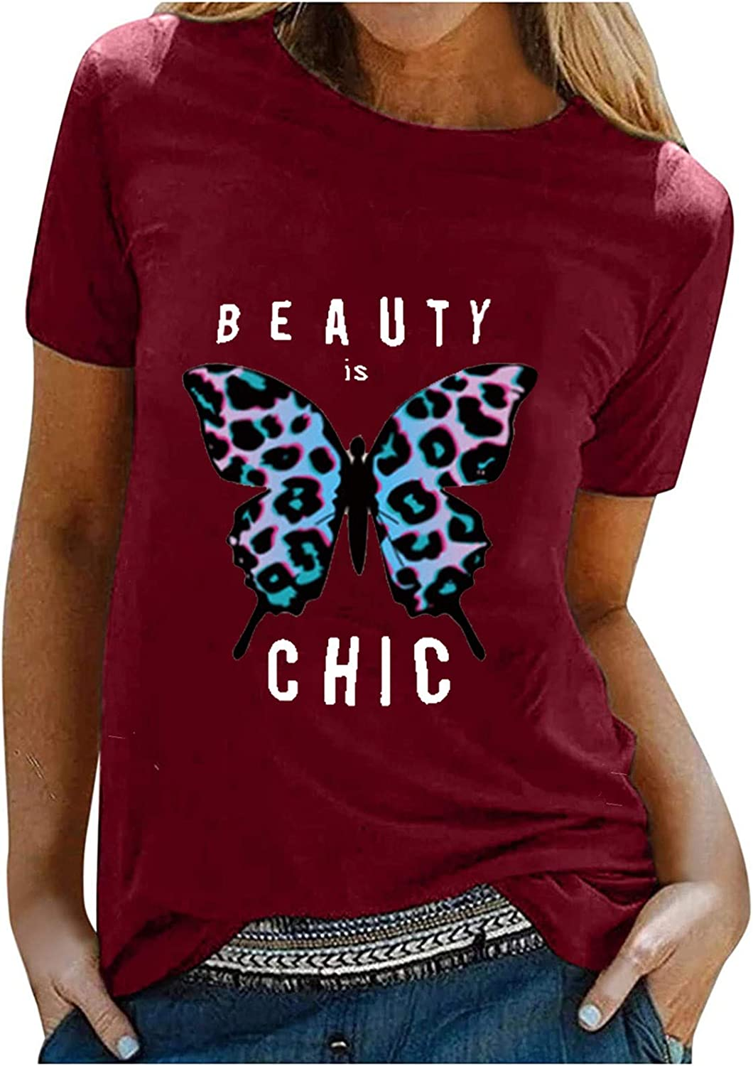 Color Butterfly Print Ladies Tops T-Shirts Summer Daily bargain sale Cool Houston Mall Sle Short