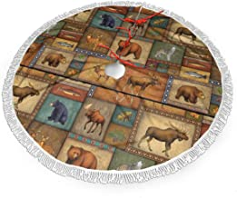 """Rustic Wildlife Bear Deer Moose Wolf 48"""" Christmas Tree Skirt for Decor, New Year Festive Holiday Party Decoration"""