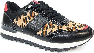 black animal print trainers