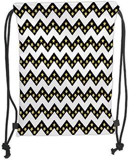 New Fashion Gym Drawstring Backpacks Bags,Chevron,Black Zig Zag Chevron Pattern with Inner Stars Parallel Striped Lines Art Print Decorative,White Yellow Soft Satin,Adjustable Str