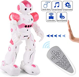 Yuboa Smart RC Robot Toy for Kids,Programmable Remote Control Robot Intelligent Gesture Sensing Interactive Robots Rechargeable,Walking Dancing Robot Gift for Boys Girls Pink