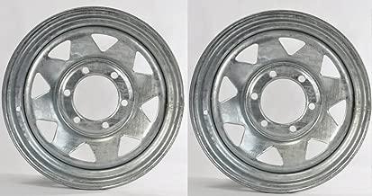 Two Boat Trailer Rims Wheels 15 in. 15X6 6 Lug Hole Bolt Galvanized Spoke Design